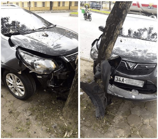 Một chiếc xe Fadil đâm vào cây nhưng không bung túi khí