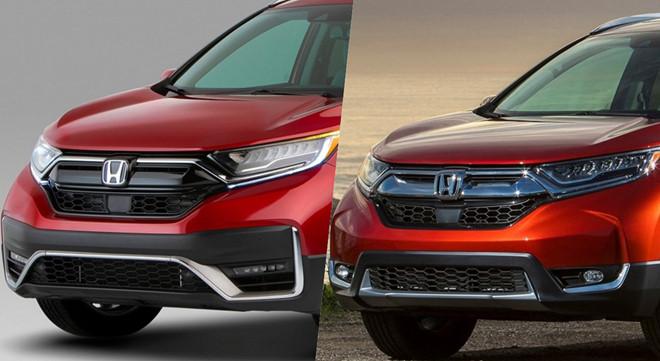 Lưới tản nhiệt, ốp cản trước trên Honda CR-V 2020 (trái) được làm mới