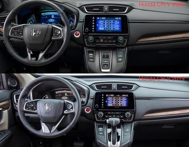 Khoang cabin Honda CR-V 2020 (trên) so với bản hiện hành (dưới)