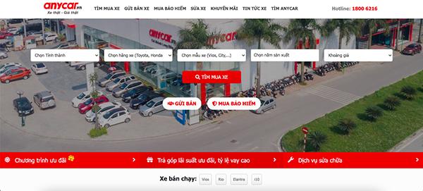 anycar - Top 10 trang web mua bán xe ô tô cũ uy tín và hiệu quả