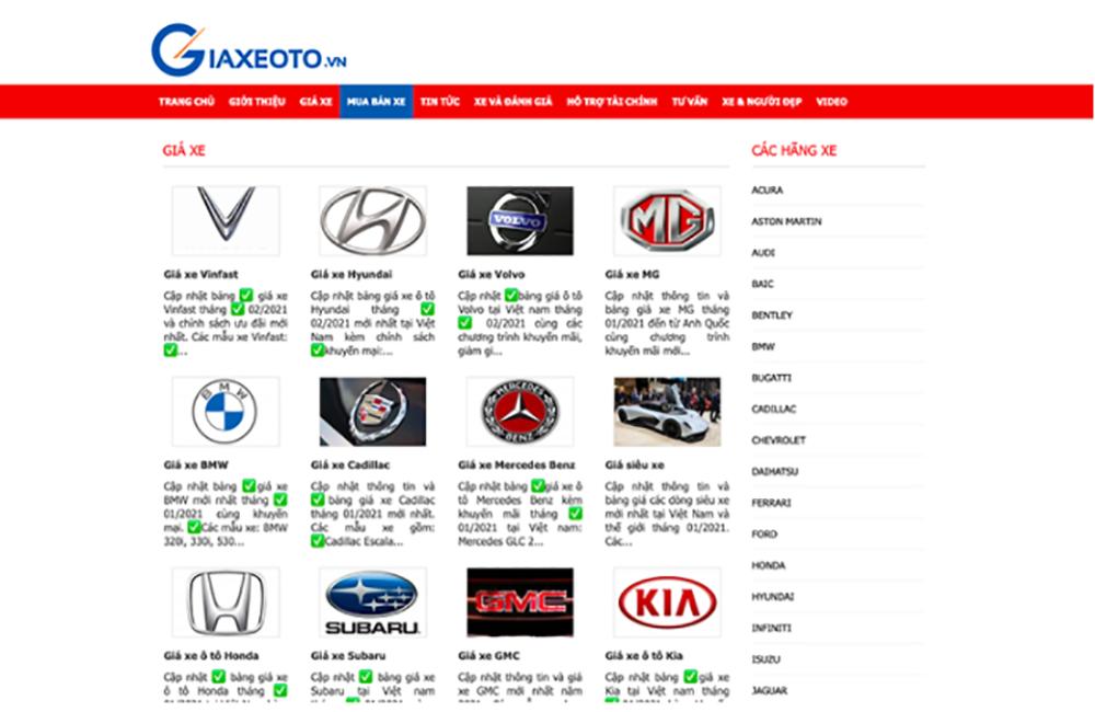 website cap nhat gia xe o to chinh xac 4 - Top 5 website cập nhật giá xe ô tô chính xác và mới nhất