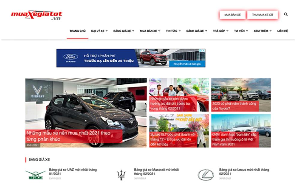 website cap nhat gia xe o to chinh xac 5 - Top 5 website cập nhật giá xe ô tô chính xác và mới nhất